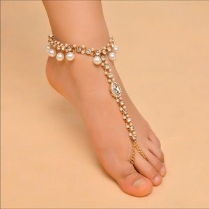 Other - Gold & Pearls Bridal Barefoot Wedding Beach Sandal
